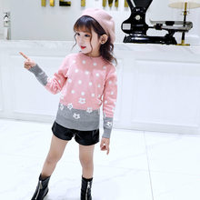 Teenage Flower and Dot Pattern Sweaters For Girls New Year Costume Children Clothing Autumn Knitted Tops Clothes