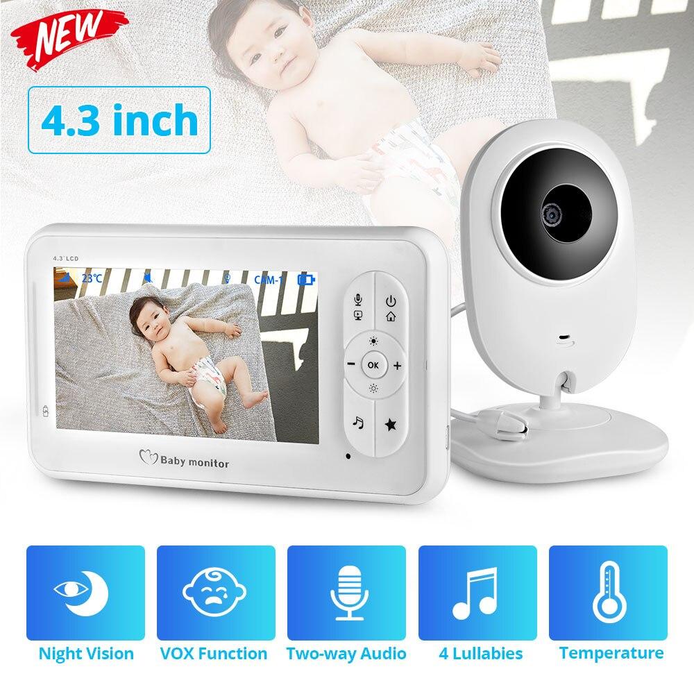 4.3 polegada cor sem fio monitor do bebê de áudio e vídeo câmera do bebê walkie talkie monitor temperatura câmera segurança ir visão noturna