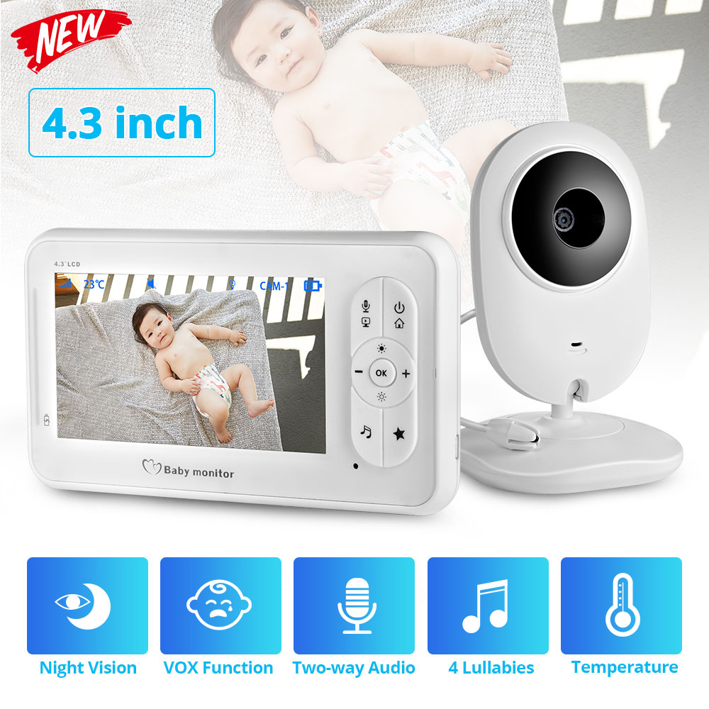4.3 inch Wireless Color Baby Monitor Audio Video Baby Camera Walkie Talkie Temperature Monitor Security Camera IR Night Vision