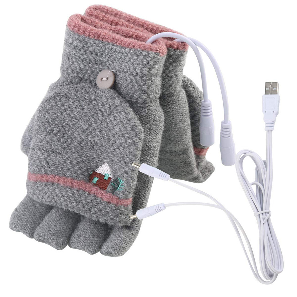 Sleeper #W401 2019 NEW FASHION Laptop Women Men USB Heated Mitten Full&Half Finger Winter Warm Knit Hand Gloves Drop Shipping