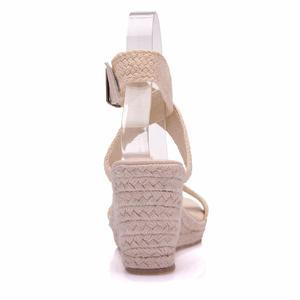 Image 3 - Sandalias de verano con plataforma y punta redonda para mujer, calzado informal con cuña y punta redonda