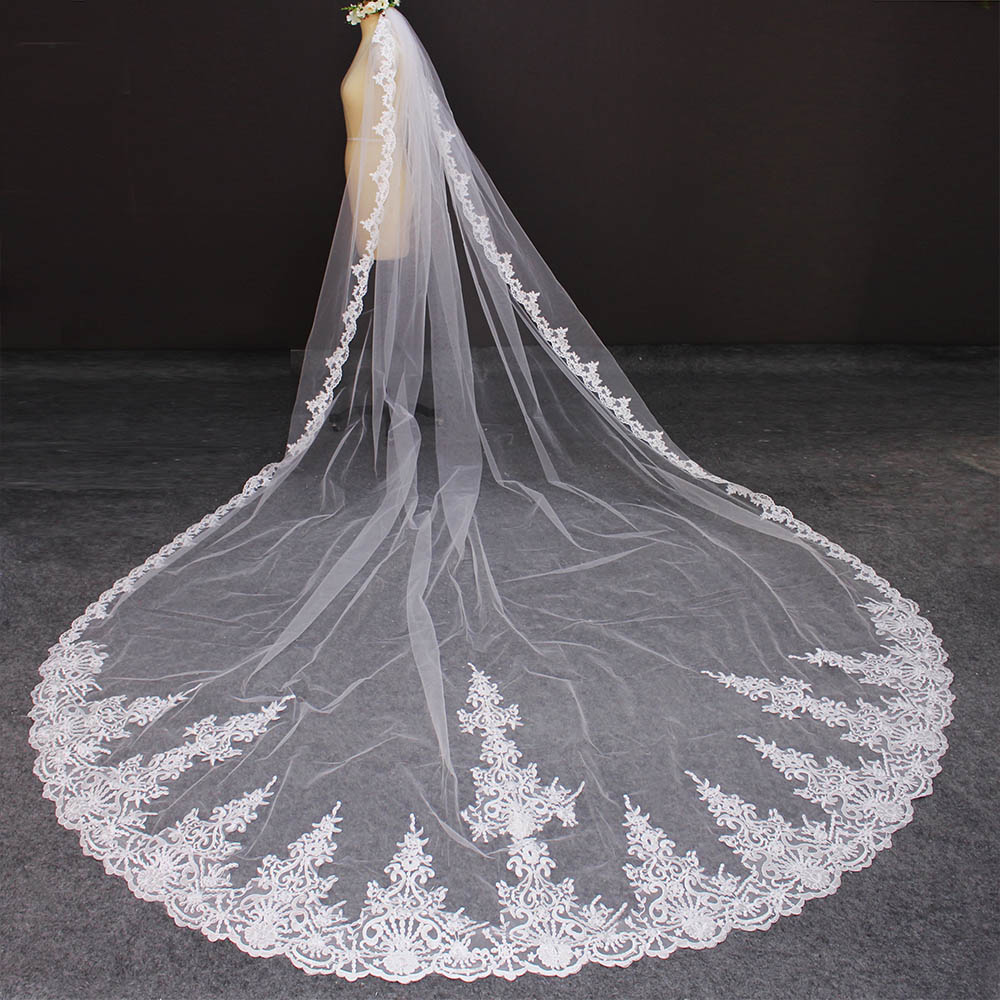 High Quality Neat Lace Long 4 Meters Wedding Veil with Comb 400cm One Layer Bridal Veil Bride Accessories Voile Mariage 5