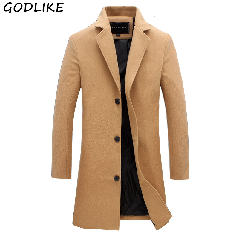 Mens Trench 2020 Mens Solid Color Casual Business Woolen Coats / Mens High-end Brand Slim Long Woolen Coat Male Jacket