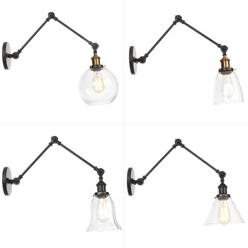 iron RH long arm glass European contemporary household contracted sitting room the bedroom stairs cafe bedside lamp недорого