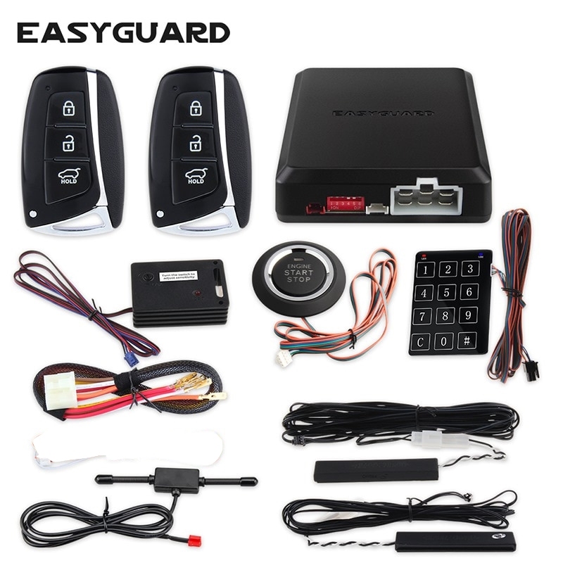 Car Alarm System Passive Keyless Entry Push Button Remote Engine Start//Stop Hot