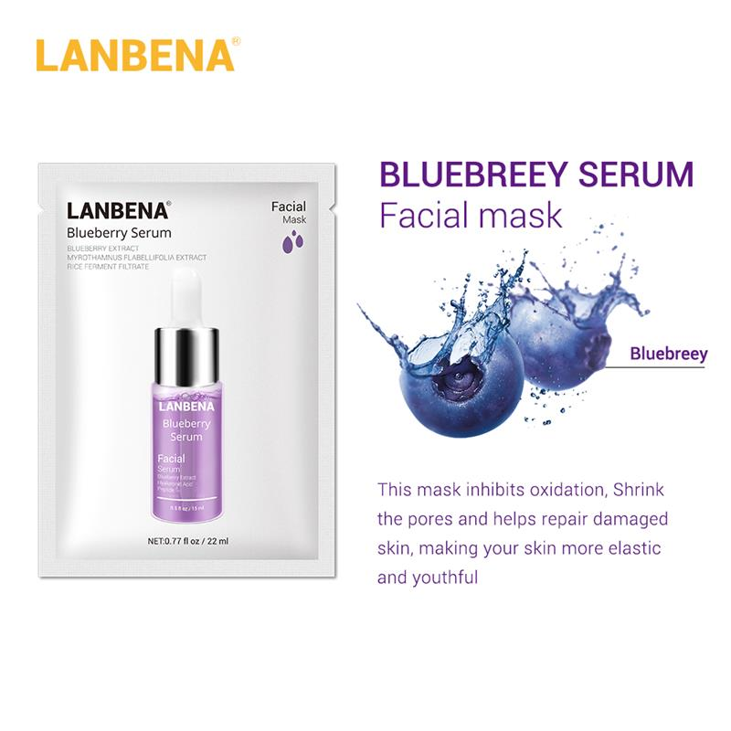 LANBENA Blueberry Hyaluronic Acid Serum Essence Oil Mask Moisturizing Whitening Anti-Aging Anti Wrinkle Skin Care Lines Whitenin