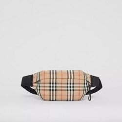Burberry Mann Medium Vintage Überprüfen Verbundene Baumwolle Bum Taille Tasche Brust Pack Outdoor Sport Crossbody-tasche Beiläufige Bum Unisex 80104301