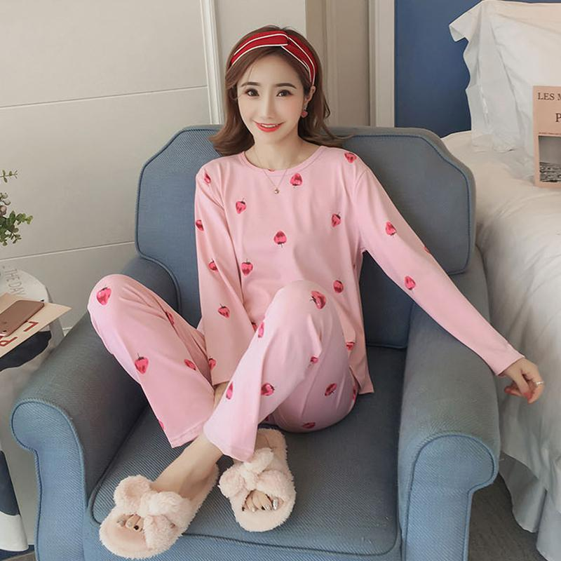 2019 Women Pajamas Set Spring Autumn Printed Long Sleeve Cute Sleepwear Casual Homewear Female Pyjamas