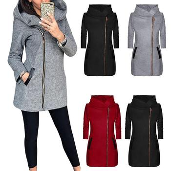 Autumn Winter Solid Color Long Sleeve Jacket Women Zip Up Hooded Coat Nylon Polyester Spandex Zip Up Long Style Coat for woman image