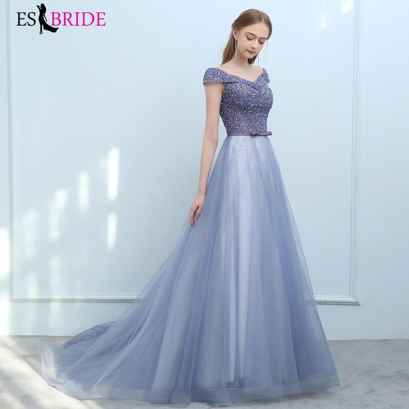 Elegant Blue Evening Dresses For Women ES3242 Beaded Sequined A-Line V-Neck Off Shoulder Tulle Formal Party Gowns Jurk 2020