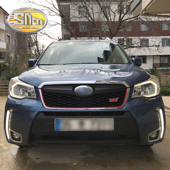 For Subaru Forester 2013 2014 2015 2016 Daytime Running Light LED DRL bummper lamp with yellow turn signal lights 12V relay