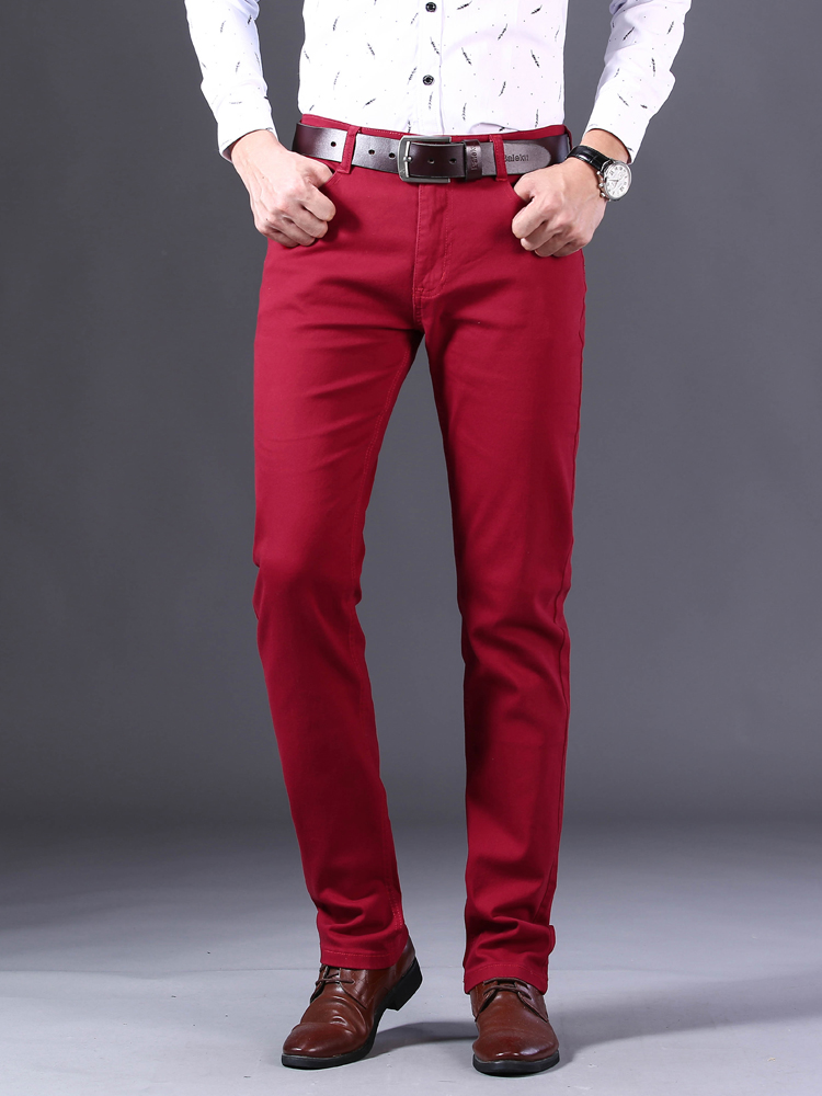 Red Jeans Pants Trousers Stretch Men's Straight Fashion Summer Denim Casual Brand Business