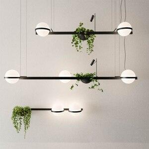 Скандинавский бар, люстра с растениями, цветы, прикроватная панель, креативный простой стеклянный шар, ореховые музыкальные обеденные ламп...