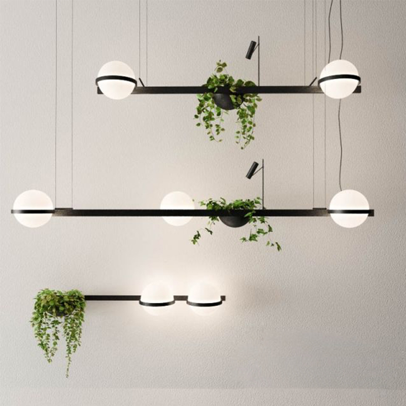 Nordic bar plant chandelier flowers bedside bar creative simple glass ball walnut music dining lamps image
