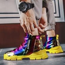 Мужские яркие высокие кроссовки блестящая обувь на платформе