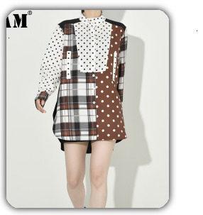 [EAM] 2019 Spring Plus Size Long Shirts Women Blouses Long-sleeve White Loose Tops Black White Cotton Shirt Big Size C006111 20