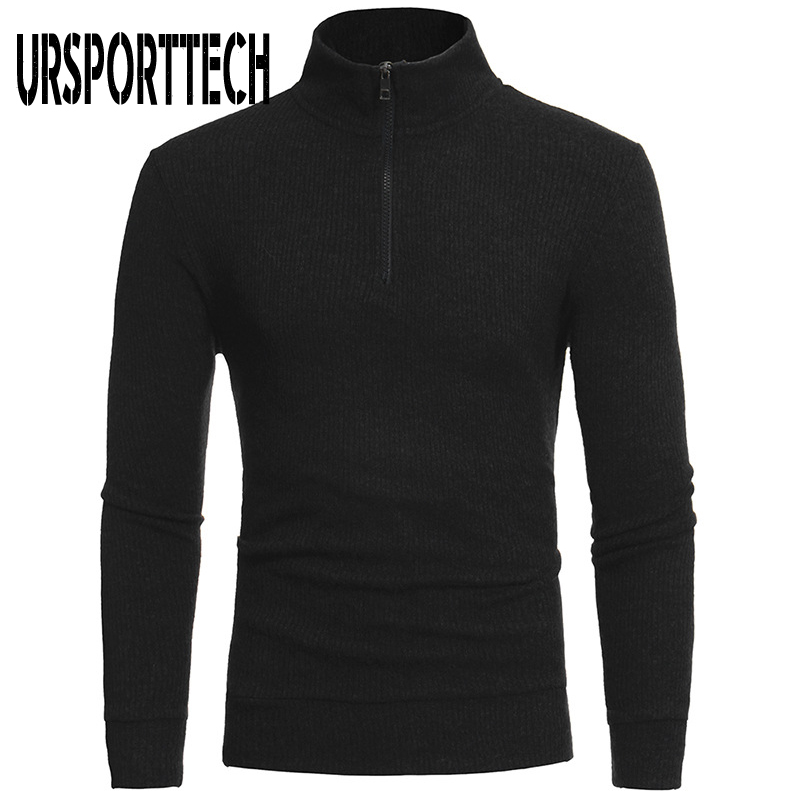 New Arrival Autumn Mens Turtleneck Sweater Men Slim Fit Solid Pullover Man Long Sleeve High Neck Zipper Design Knitted Sweaters