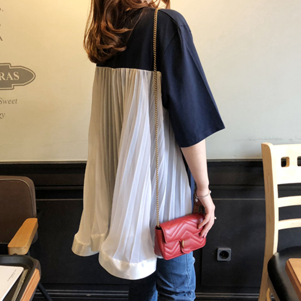 Short Sleeve T-Shirt Women Korean Fashion Summer Fake Two Piece Mesh Patchwork Girl's Causal Tops Loose Female Shirts 2020 New