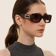 Nova moda retângulo vintage óculos de sol feminino designer de marca retro men shades óculos femininos uv400 pequenos óculos preto