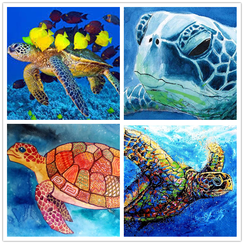 5D Green Turtle Diamond Painting Full Drill Embroidery Crafts Kits Wall Decor