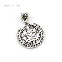 50pcs Antique silver Saint St Benedict de Nursia badge medal Dangle Charm Beads Fit necklace DIY Jewelry 25.5x37mm A-560a