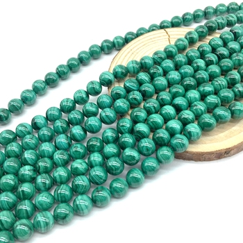High Quality Nature Malachite Stone Beads Round Smooth 4 mm 6 mm 8 mm 10 mm 12 mm for DIY Jewelry Bracelet Making Supplies фото
