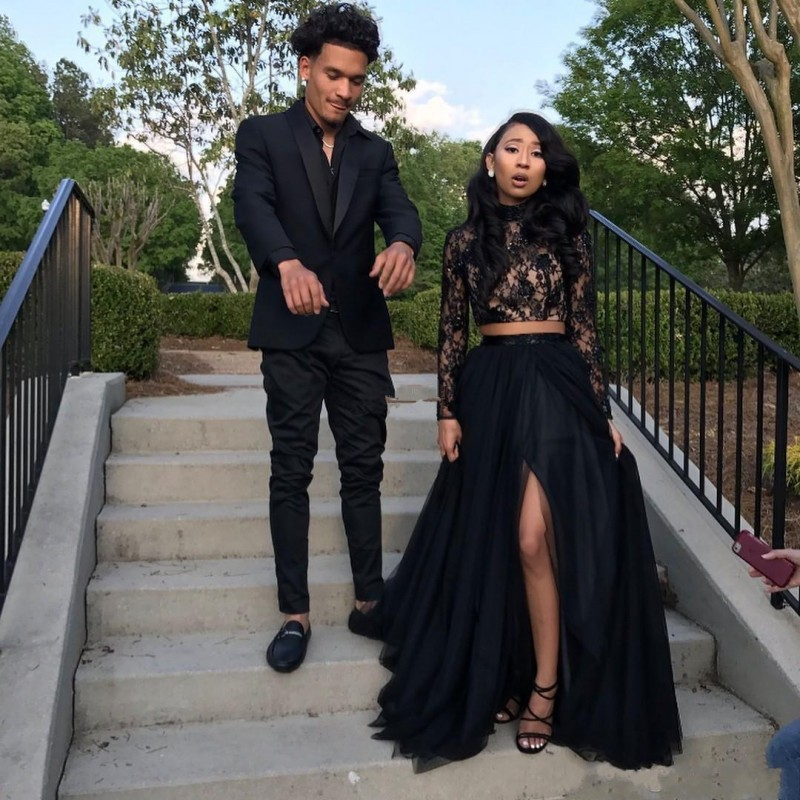 Two Pieces Black Girls Prom Dress Long Sleeve Lace Top African High Neck Front Split Evening Gowns Vestidos De Fiesta