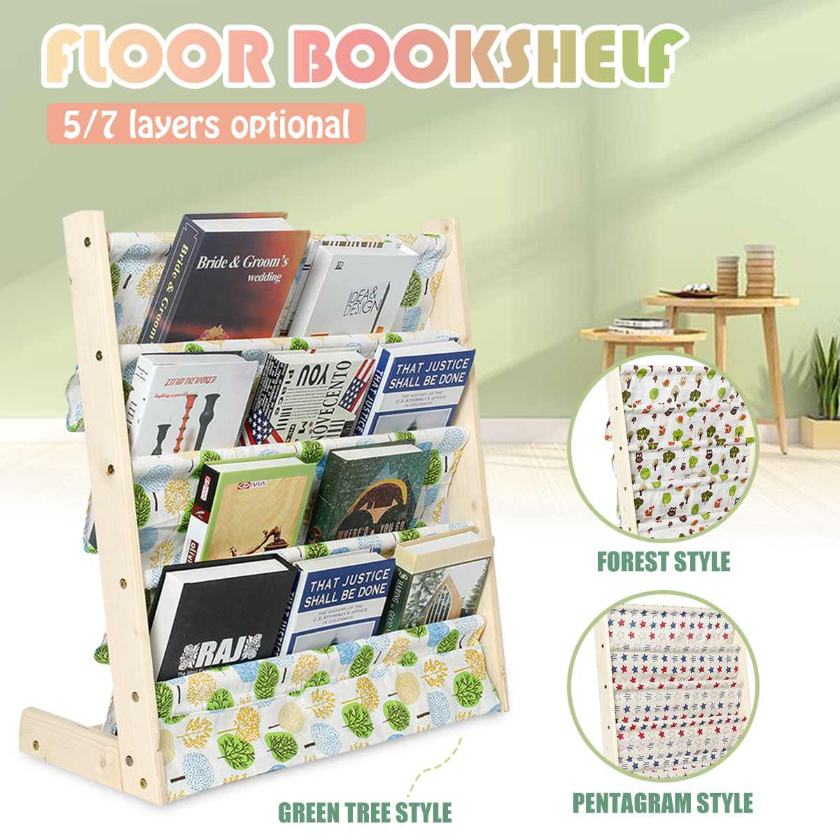 5/7 Tiers Children Furniture Bookcase Wooden Bookshelf Storage Rack Display Holder Kids Room Floor Standing Bookshelf Home Decor