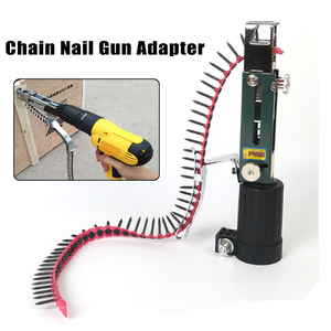 Image 2 - 1PC Automatic Screw Spike Chain Nail Gun Adapter Screw Gun for Electric Drill Woodworking Tool Cordless Power Drill Attachment