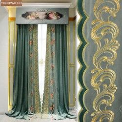 Niestandardowa kurtyna haftowany kwiat światła luksusowy francuski gruby salon zielona tkanina zasłona zaciemniająca valance tulle panel C185