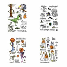 Halloween Set Hot-selling Pumpkin Monster Vulture Bat Bone Transparent Clear Stamps for DIY Scrapbooking Cards Crafts 2019 New