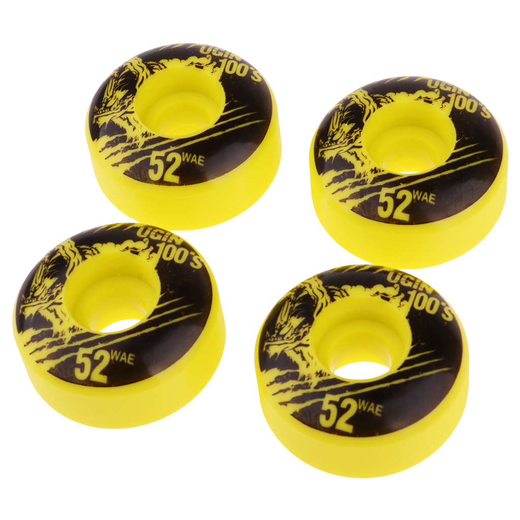 4 Pcs 52mm 100A High Performance Skateboard Wheels Durable PU Skate Wheels 100A Cool Appearance Scooter Wheels