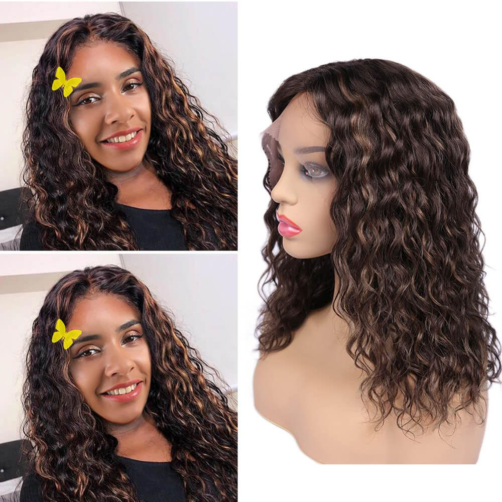 Lace Front Human Hair Wigs Water Wavy Wig Mix Color Brown & Auburn Color Part Lace Brazilian Remy Hair Wig For Black Women