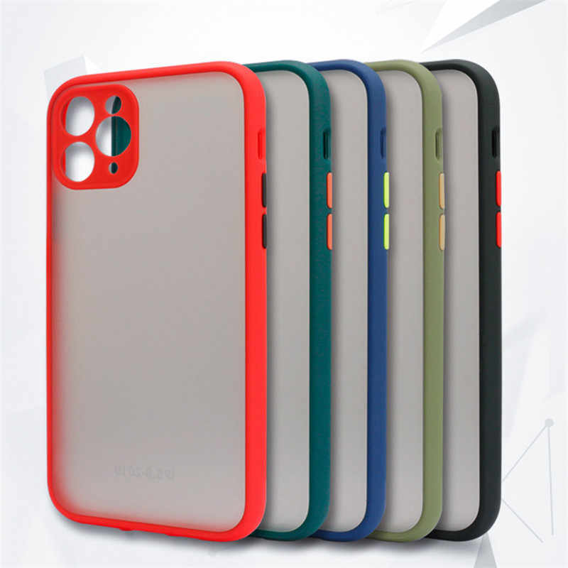 Anti-knock caso de telefone armadura para iphone 11 8 7 6 s plus capa x xs max xr 11 pro max matte capa protetora