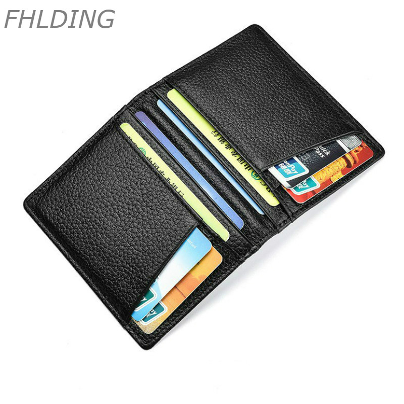 2019 Super Slim Soft Wallet Mini Credit Card Wallet Purse Card Holders 100% Genuine Leather Men Wallet Thin Small