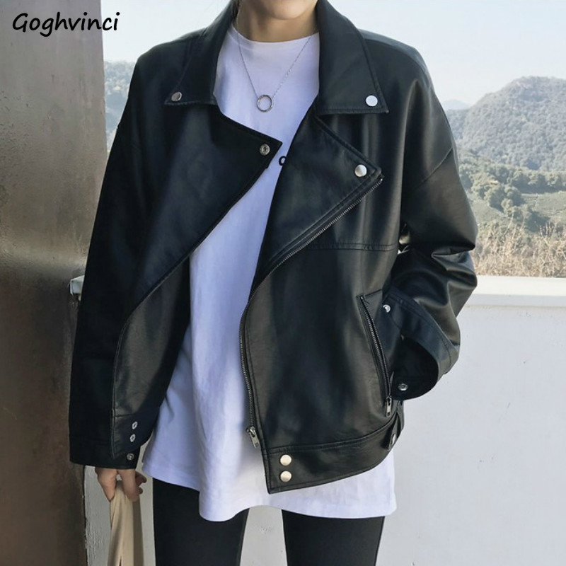 Jacket Women Black Solid Zipper Long Sleeve Comfortable Womens Jackets And Coats Harajuku Korean Style Casual Leather Coat Chic