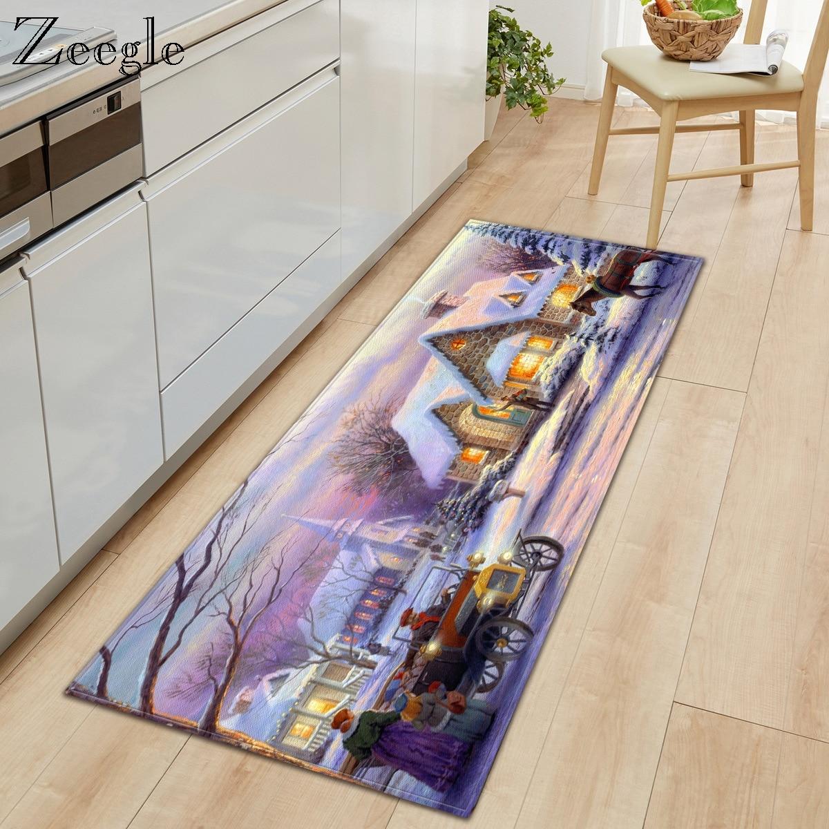 Zeegle Christmas Living Room Carpet Printed Creative Mat Home Decoration Carpet Rectangle Kitchen Floor Mat Kids Room Foot Rug