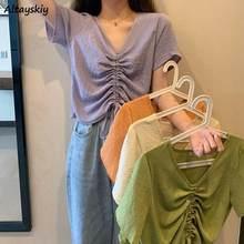 T-shirts Frauen Sommer Crop Tops Kordelzug Plissee V-ausschnitt Kurzarm Solide Vogue Crepe Koreanische Stil Lose Süße Girlish Neue