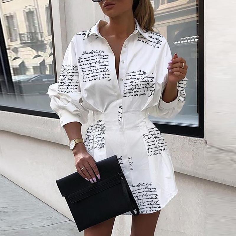 Letter Print Slim Mini Autumn Dress Elegant Short Bodycon Women Shirt Dresses 2019 Winter Lantern Long Sleeve White Ladies Dress
