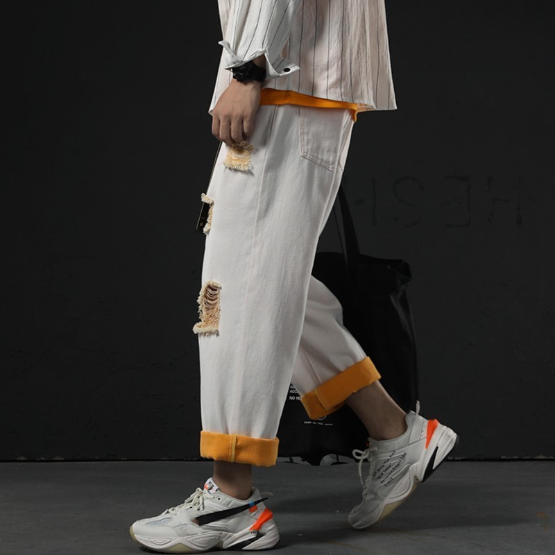 New Fashion Mens Straight Wide Leg Pants Hole Ripped White Jeans Man BF Casual Hip Hop Loose Fit Denim Ankle Length Harem Pants