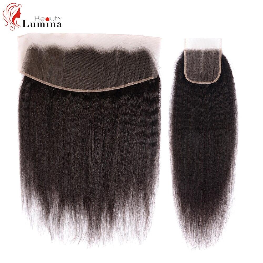 Densidade frontal livre/média/do fechamento do laço de três partes do fechamento do laço 150 do cabelo humano frontal 4x 4/13x 4/13x6 do fechamento do cabelo reto de yaki