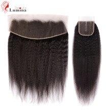 O cabelo humano frontal frontal 4x 4/13x 4/13x6 do fechamento do cabelo reto de yaki livra frontal/médio/densidade do fechamento do laço de três partes frontal 150