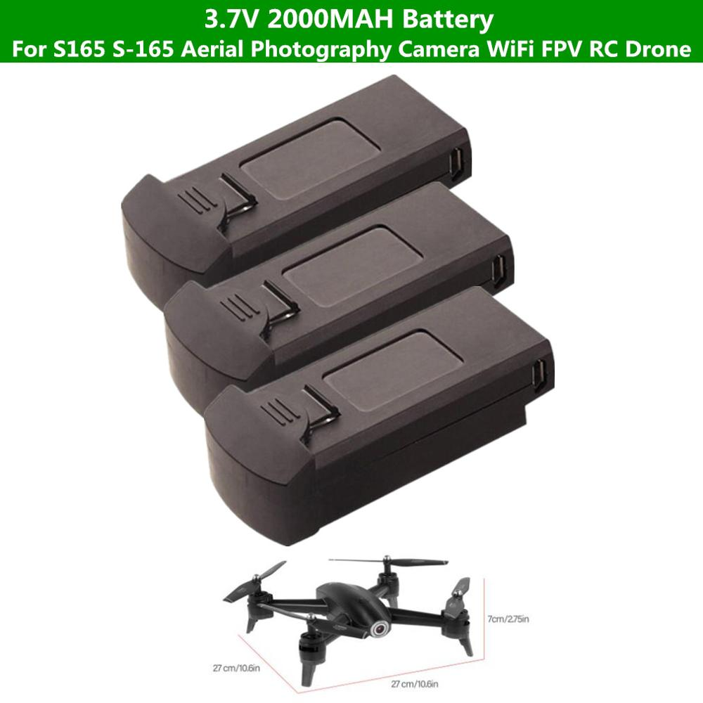 2pcs 1PCSBattery <font><b>3.7V</b></font> <font><b>2000mah</b></font> <font><b>battery</b></font> For S165 S-165 Aerial Photography Camera WiFi FPV RC Drone spare Parts <font><b>Battery</b></font> image