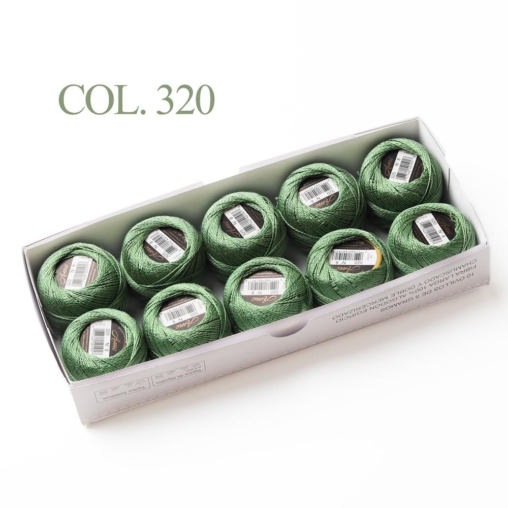 10 коробка с шариками Размер 8 жемчуг Хлопок нитки для вязания 43 ярдов двойная Мерсеризация длинный штапель из египетского хлопка 79 DMC цвета - Цвет: 320