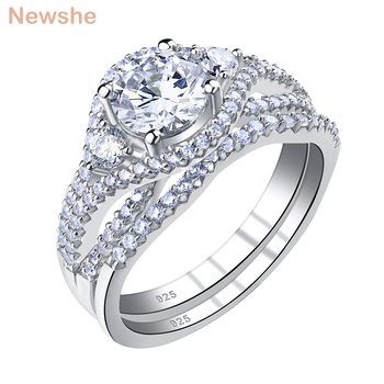 Newshe Womens Wedding Ring Sets Round Cut Cz 925 Sterling Silver Bridal Engagement Rings Classic Jewelry BR0846