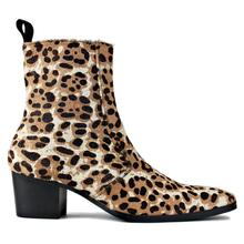 Ankle-Boots Horse-Hair Beige Men Chelsea Footwear Side-Zipper Designer Leopard with Brown