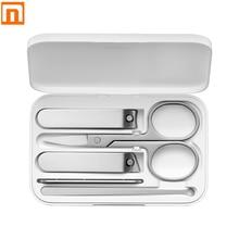 Xiaomi Mijia 5 pièces en acier inoxydable coupe ongles ensemble tondeuse pédicure soins tondeuses Earpick lime à ongles professionnel ongles manucure