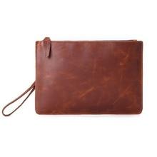 New Leather Men Clutch Bag Fashion Envelope Crazy Horse Retro File purses and handbags