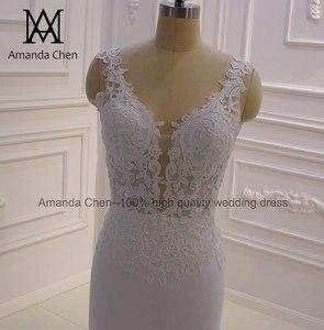 Image 5 - bride dress Simple Elegant Cap Sleeve Lace Appliques Keyhole Back Beach Wedding Dress
