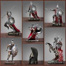 Figura de personaje espartano Retro, ornamento romano antiguo, figuras de resina artesanales, decoración del hogar, estatua de Guerrero espartano, regalo decorativo